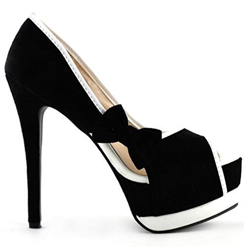 LF80900 Tone Stiletto Womens Platform Toe Show Shoes Peep Sexy Story 2 Pumps Black Bow z1z7HqR