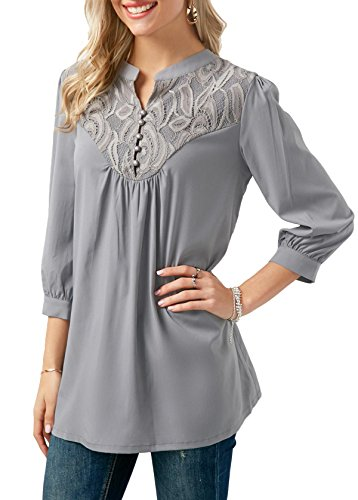 Baseball Color O Tops Air Advocator Casual Plein Lace Shirt Avant Sport Manches Gris Longues Blouse Chemises Cou T Block Femmes en Up UA48qH