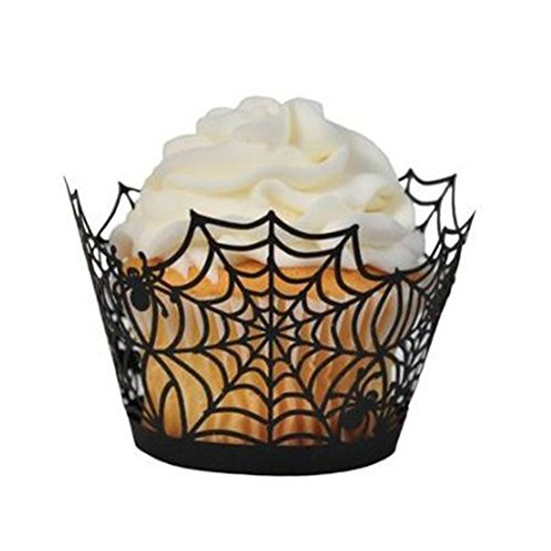 Tinksky Cupcake Wrappers 50 Spiderweb Laser Cut Bake Cake Paper Cups Baking Cup Muffin Case Trays for Wedding Halloween Party Birthday Decoration (Black) -