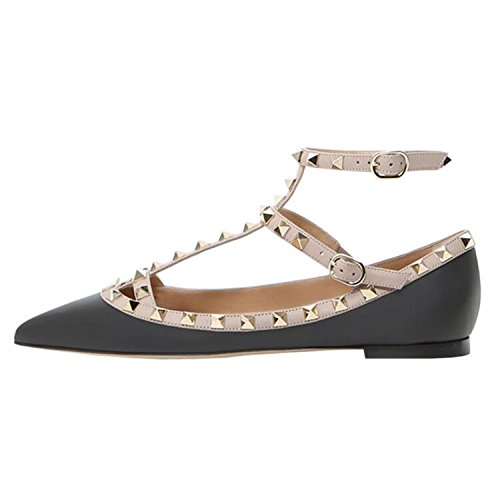 Ankle Black Toe Strap Pointed Pumps Flat Dress Leather With Strap Gold VOCOSI Rivets Women's Rivets Pumps T Studded manmade OxqwEHXE5