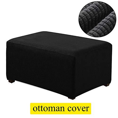 TIENCIY Oversized Ottoman Slipcover Sofa Spandex Jacquard Stretch Storage Ottoman Slipcover Protector Covers(Oversize, Black)