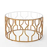 Iron and Glass Coffee Table ZHIRONG Round Tempered Glass Side Table Modern Living Room Iron Art Coffee Table Gold 5650CM