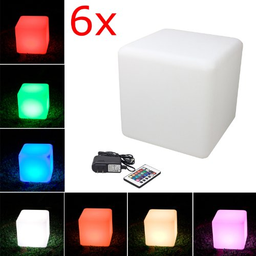 LED Cube Light, LOFTEK Shape Light, Rechargeable and Cordless Decorative Light with 16 RGB Colors and Remote Control, 16-Inch Cube, Pack of 6 by LOFTEK