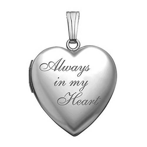 PicturesOnGold.com Always in My Heart Silver Heart Locket Pendant Necklace - 3/4 Inch X 3/4 Inch