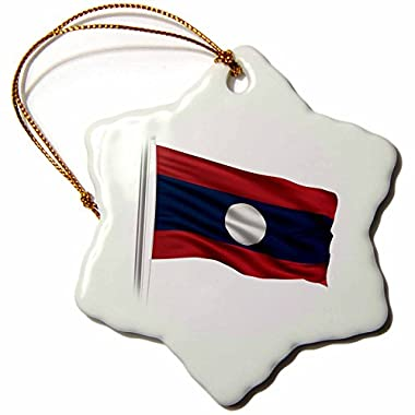 Carsten Reisinger Illustrations - Flag of Laos on a flag pole over white Laotian - 3 inch Snowflake Porcelain Ornament (orn_157197_1)