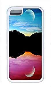TPU Back Case Cover For iPhone 5C DIY Durable Shell Skin For iPhone 5C with Colorful Moon