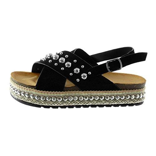 Angkorly Damen Schuhe Sandalen Mule - Plateauschuhe - Nieten - Besetzt - Perle - Seil Keilabsatz High Heel 4 cm Schwarz