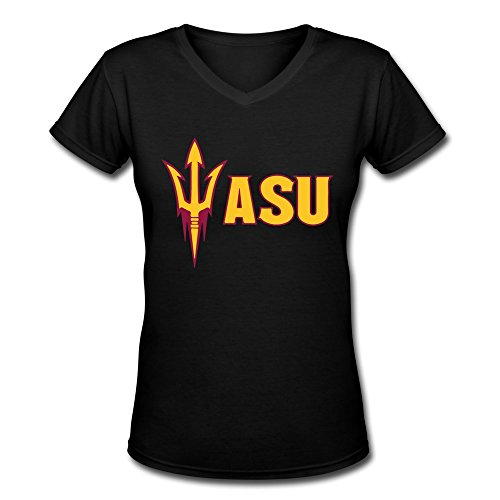 HOOYOUNG Ncaa Arizona State Sun Devils ASU Logo Women's V-Neck L (Division Womens V-neck)