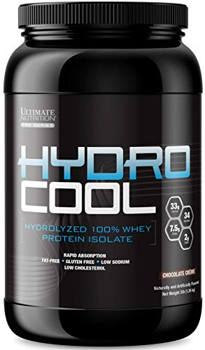 Ultimate Nutrition HydroCool Hydrolyzed Whey Protein Isolate Powder with No Bloating - Fat and Gluten Free, Rapid Absorption, 33 Grams of Protein, Chocolate, 3 Pounds