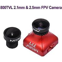 FPV Camera 800TVL 2.1mm 2.5mm Lens 1/2.7 5MP FOV 150 Degree IR Block 1080P HD Mini FPV Camera NTSC PAL CCD IR Block Black with OSD for FPV Quadcopter Racing Drone