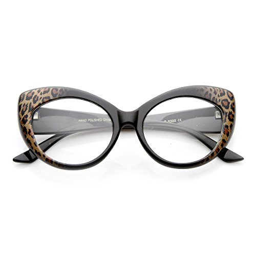 zeroUV - Mod Pointed Cat Eye Clear Fashion Frame Glasses (Cheetah - Cheetah Glasses