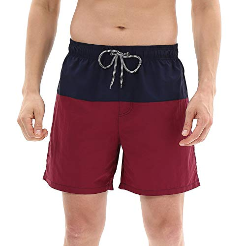 anqier Mens Swim Trunks Quick Dry Beach Shorts Mesh Lining Board Shorts Swimwear Bathing Suits with Pockets (Navy&Wine Red, US M (Fits Waist 32.5