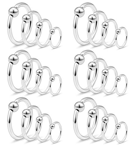 Ftovosyo Tragus Hoop Earrings Surgical Steel 12g Captive Bead Ring Lip Septum Hoops Body Piercing Jewelry for Women Men 24 Pieces 10mm 12mm 14mm 16mm ()