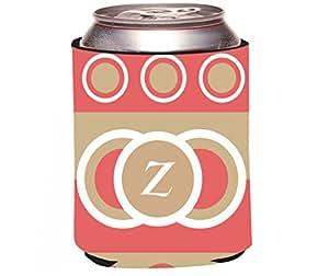 "Rikki Knight RKws-KOOZIE-43277 ""Letter Z Monogrammed Initial Coral Sand Circle Design"" Spring Fashion Colors 2014 Design"" Beer Can/Soda Drink Cooler Koozie"