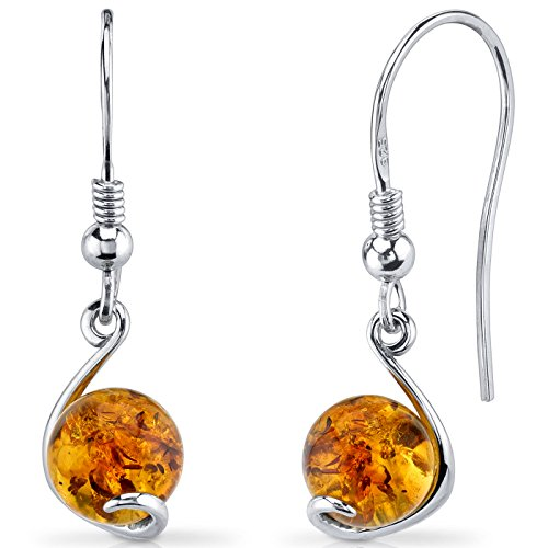 Baltic Amber Spherical Fishhook Earrings Sterling Silver Cognac Color (Silver Sterling Earrings Fish)