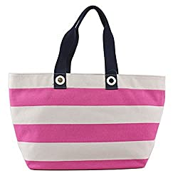 Tommy Hilfiger Women's Print Rugby Tote Raspberry/Natural Handbag