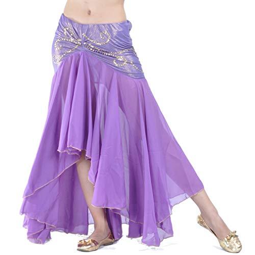 ZLTdream Women's Belly Dance Chiffon Fishtail Skirt Purple Belly Dance Mermaid Skirt