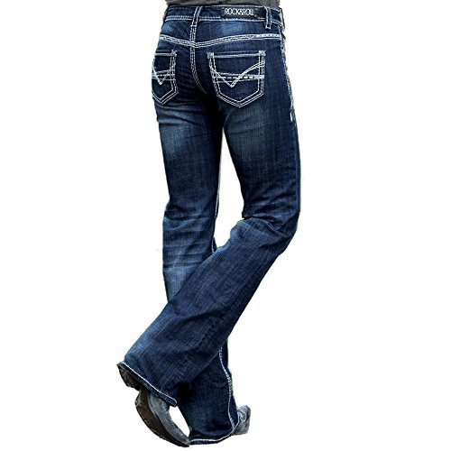 Rock and Roll Cowgirl Women's Riding Boot Cut In Dark Vintage Dark Vintage 28 - Rise Mid Jeans Rise Low