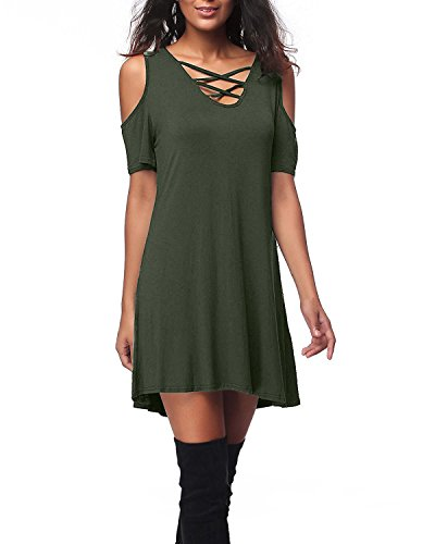 SUNNYME Women's Cold Shoulder Mini T-Shirt Summer Dresses Criss Cross V Neck Tunics Army Green 2XL -
