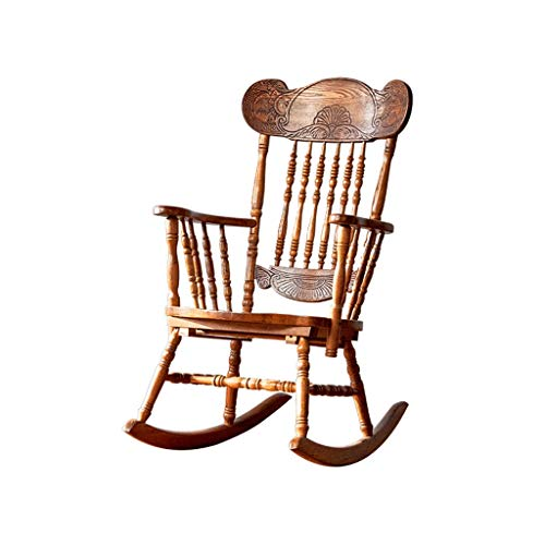 HYYTY-Y Single Home Solid Wood Rocking Chair, Raised Back Hand-Carved Lounge Chair 617-YY