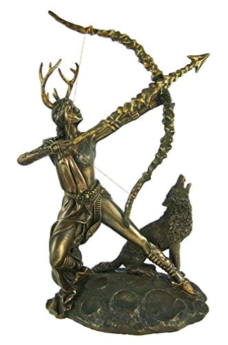 Ky & Co YK Ancient Greek Legend Artemis with Bow and Wolf Diana Huntress Figurine Statue ()
