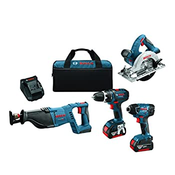 Image of Bosch 18-Volt 4-Tool Combo Kit CLPK420-181 with Charger, 2 Batteries (4.0 Ah Fat Pack Batteries), Belt Clips, and Blue Carrying Bag Home Improvements