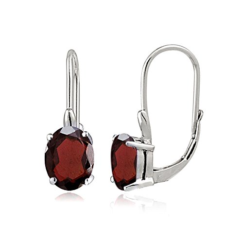 Sterling Silver Garnet Oval Leverback Earrings (Earrings Oval Garnet Silver Sterling)