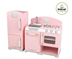 Kidkraft Retro Kitchen & Refrigerator In Pink