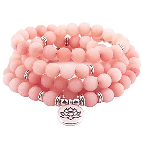 GVUSMIL 8mm Mala Amazonite 108 Beads Necklace Yoga Buddhist Rosary Prayer Charm Bracelet Made Natural Gemstone Agate Jade Women Men (Pink Opal) ()