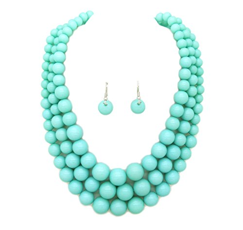 Acrylic Turquoise Necklace - Fashion 21 Women's Multi-Strand Acrylic Ball Bead Statement 18