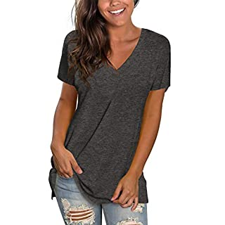 Summer T Shirts for Women V Neck Solid Color T-Shirts Cute Short Sleeve Tunic Tops Grey M