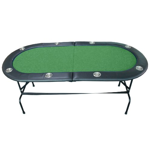 8 Player Casino Texas Holdem w/ Stainless Steel Cup Holders Folding Poker Table Green