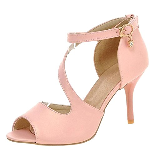 con Donna Scarpe Toe Peep Sandali TAOFFEN Pink Tacco qURf14R