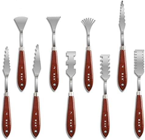 ステンレス鋼パレットナイフセット、ガッシュ油絵彫刻描画器具、アートワーク木製ハンドルスクレーパーの組み合わせ