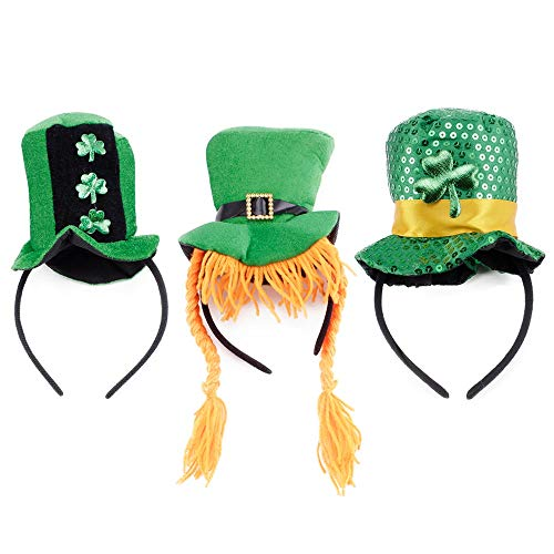 - 3Pcs Funny Green Hat St Patricks Day Irish Shamrock Headband Bopper Gift Set