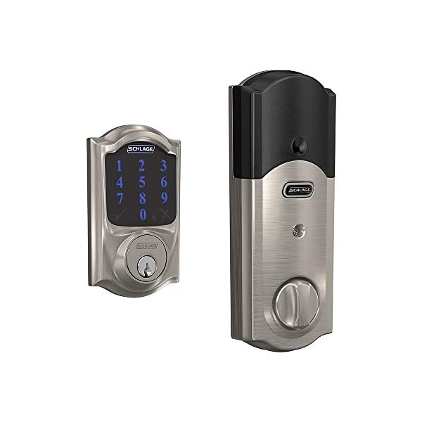 Schlage BE469ZP CAM 619 Connect Smart Deadbolt with alarm with Camelot Trim in Satin Nickel, Z-Wave Plus enabled 1