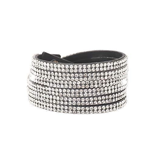 CENAPOG Silver Diamond Leather Bracelet for Women Leather Wrap Bracelet Multi-Row Leather Strand Bracelet (Silver)