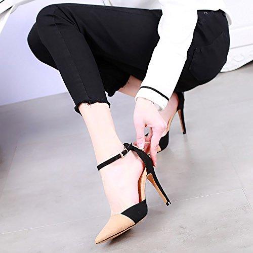 SSBY Un 10Cm De Tacones Altos Con Una Multa Banquete Temperamento Shoes Sexy Nuevo Estilo Ajuste De Color Zapatos De Hebilla Todo El Partido Apricot