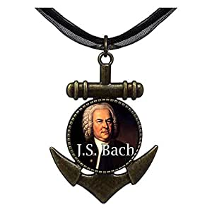 Chicforest Bronze Retro Style Music J.s.bach Anchor Pendant Pendant Necklaces