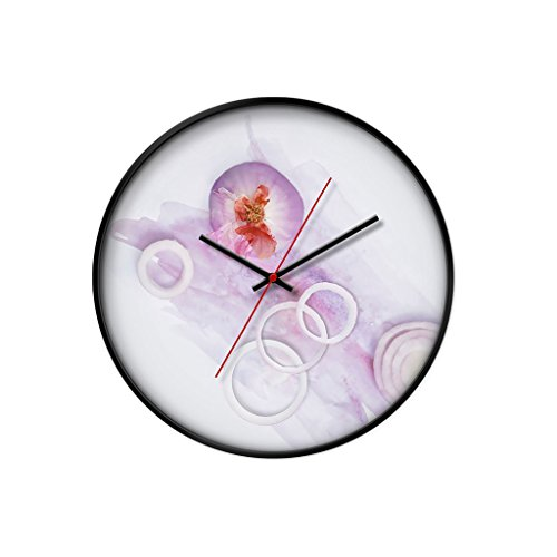 Edition Black Bezel - YONGJUNguazhong YONGJUN 12 Inch Clock Creative Wall Clock Living Room Bedroom Personality Mute Clock Quartz Clock - Gourmet Series (Color : Black bezel, Edition : Onions)