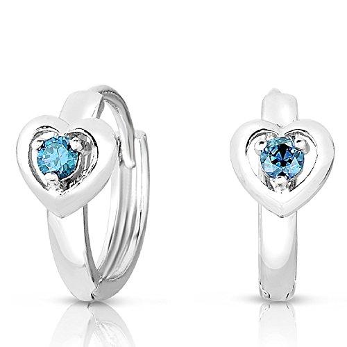 Girls 925 Sterling Silver Heart Design Round Huggie Earrings In Simulated Aquamarine Birthstone (Birthstone Heart Childrens Earrings)