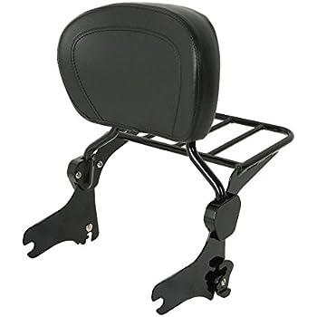 TTX Matte Black Adjustable Detach Release Passenger Backrest Sissy Bar and Luggage Rack w// 4 Point Docking Hardware for 14-19 Harley Touring Street Glide Electra Glide Road King Glide FLHR FLTR FLHX
