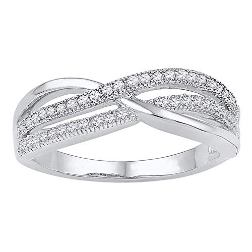 Diamond Gold Crossover - 10kt White Gold Womens Round Diamond Crossover Band Ring 1/5 Cttw