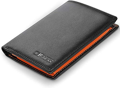 Fashion Freak® Leather Wallet For Men – RFID Blocking Wallet – With Coin Pocket And Credit Card Holders (BLACK TAN)