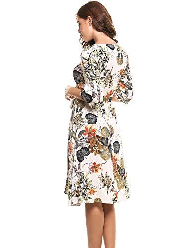 con manica estate donna con stampa a 4 Vestito a bohémien 3 da cintura V gialla scollo Angvns floreale 5qYAwnU