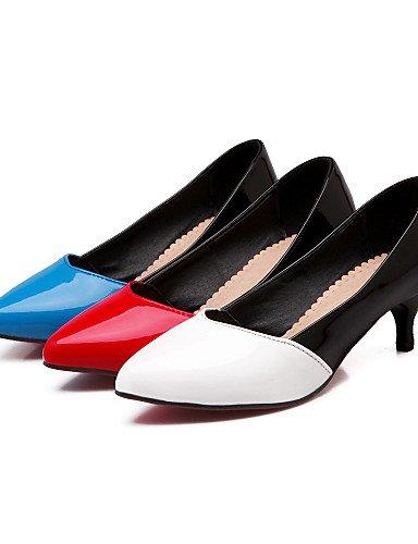 GGX/Damen Schuhe Patent Leder Sommer/spitz Toe Heels Büro & Karriere/Casual Trichterabsatz Split Gemeinsame blau/rot/weiß red-us6.5-7 / eu37 / uk4.5-5 / cn37