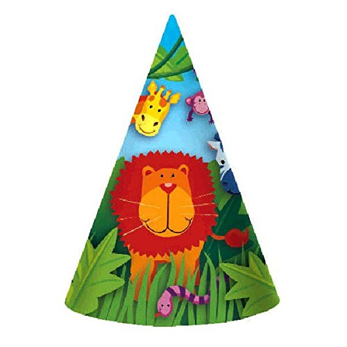 Colorful Jungle Animals Birthday Party Hats, Multi by Amscan
