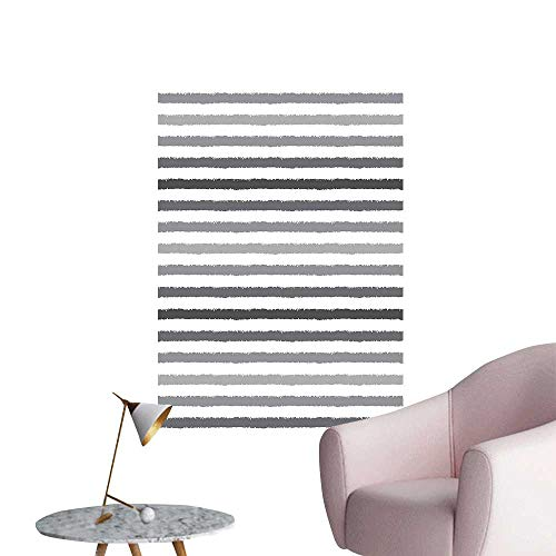 Wall Stickers for Living Room and White Stripes Monochrome Tones Brush Style Lines Retro Digital Printed White Vinyl Wall Stickers Print,28