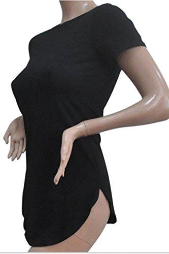 T Dress Tops Crewneck Short Sleeve Split Shirts Size Women's Black Plus Side Viottis 1xPqa8w8v
