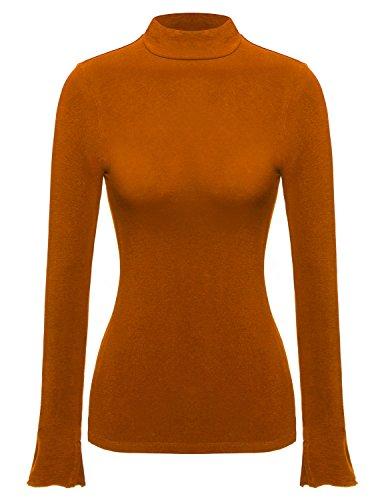 [REGNA X BOHO Slim fit woman bright colorful orange ruffled edge long sleeve plus size big extra large 2X mock half turtle neck turtleneck knit top] (Orange Ruffled)